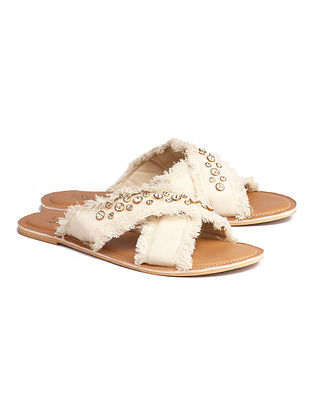 Off White Handcrafted Canvas Flats