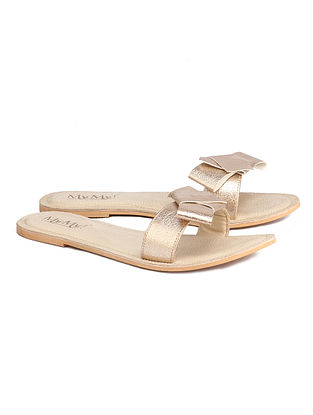 Golden Handcrafted Faux Leather Flats