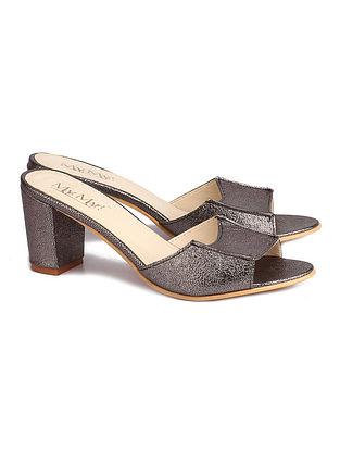 Metallic Grey Handcrafted Faux Leather Block Heels