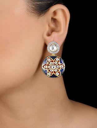 Blue Meenakari Kundan Inspired Earrings
