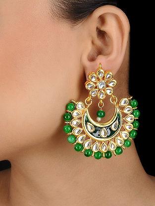 Green Kundan Inspired Enamel Earrings
