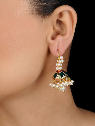 Red-Green Gold Tone Jhumki