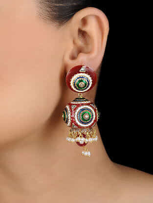 Red-Green Gold Tone Earrings