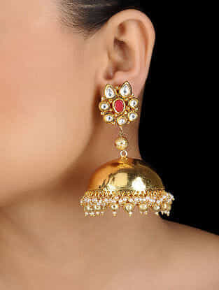 Red Gold Tone Jhumka