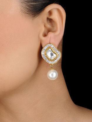 Gold Tone Crystal Pearl Earrings