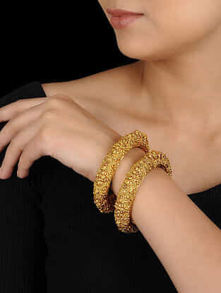 Gold Tone Temple Cut Bangles (Set of 2)
