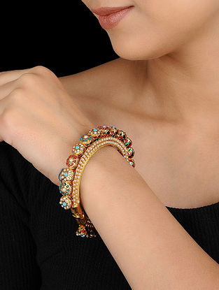 Multicolored Gold Tone Bangle
