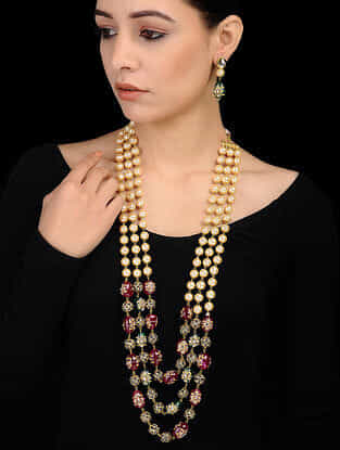 Multicolored Gold Tone Beaded Necklace with Earrings (Set of 2)