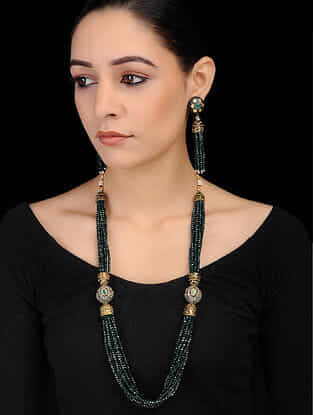 Green Gold Tone Onyx Beaded Necklace with Earrings (Set of 2)