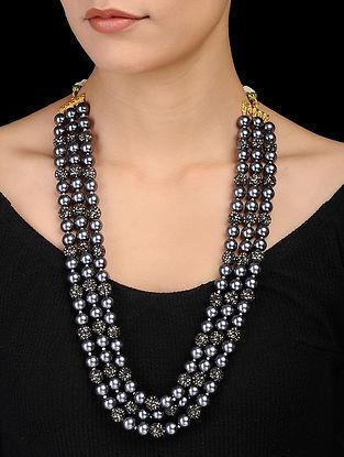 Grey Marcasite Beaded Necklace