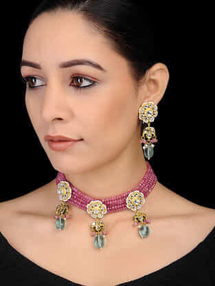 Pink-Green Gold Tone Kundan Inspired Onyx Beaded Necklace with Earrings (Set of 2)