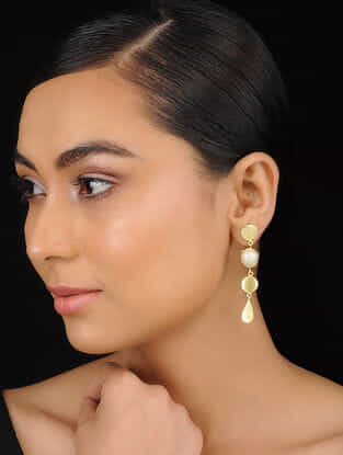 Classic Gold Tone Baroque Pearl Brass Earrings