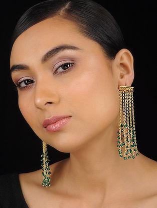 Green Gold Tone Brass Earrings
