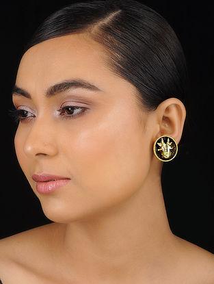 Brown Gold Tone Meenakari Brass Earrings