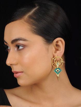 Grey Gold Tone Meenakari Brass Earrings