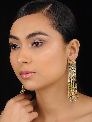 Blue-Green Gold Tone Brass Earrings