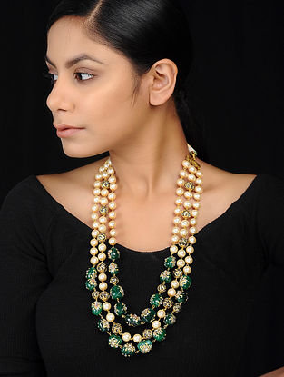 Green-White Gold Tone Mercasite and Pearl Beaded Necklace