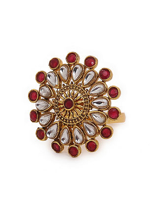 Red Gold Tone Kundan Inspired Adjustable Ring
