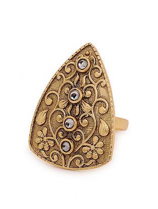 Gold Tone Oxidised Adjustable Ring