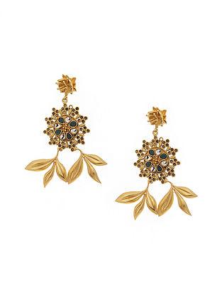 Green Gold Tone Antique Earrings
