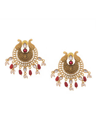 Red Gold Tone Antique Earrings