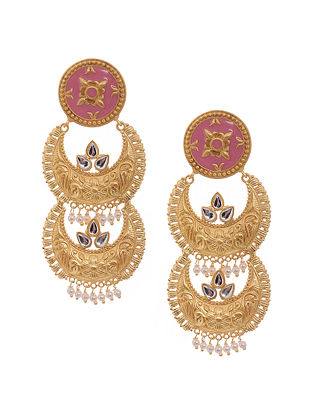 Pink Gold Tone Antique Chandbali Earrings