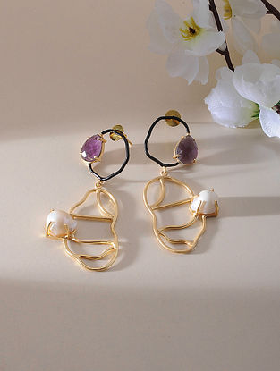 Purple-White Gold Plated Amethyst Brass Earrings with Baroque Pearl