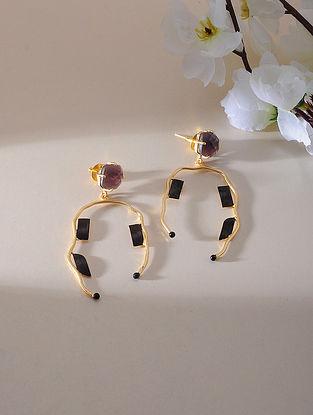 Purple-Black Gold Plated Amethyst Brass Earrings