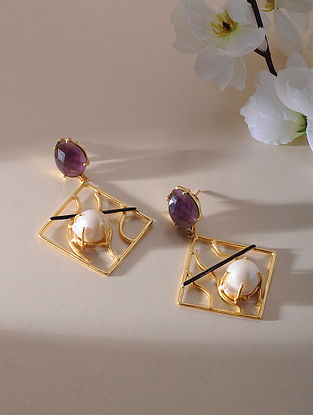 Purple-Black Gold Plated Amethyst Brass Earrings with Baroque Pearl