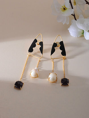 Black Gold Plated Amethyst Brass Earrings with Baroque Pearl
