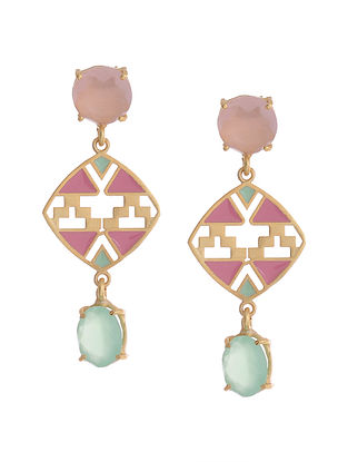 Pink Blue Gold Plated Brass Earrings