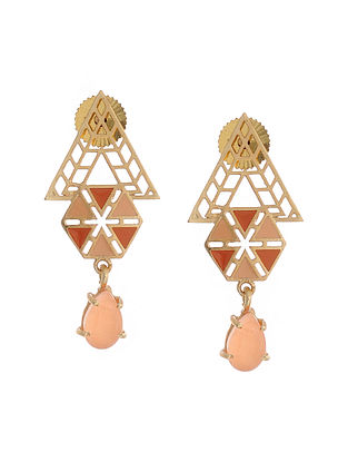 Orange Gold Plated Brass Earrings