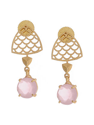 Pink Gold Plated Brass Earrings