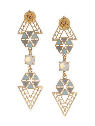 Blue Gold Plated Brass Earrings