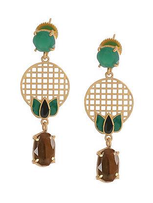 Black Green Gold Plated Brass Earrings
