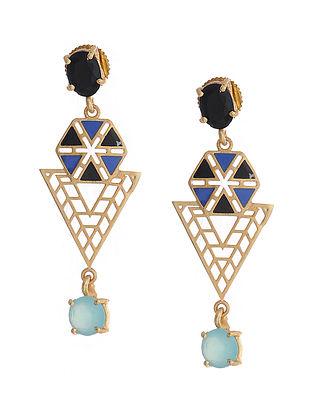Black Blue Gold Plated Brass Earrings
