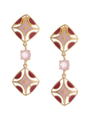 Red Pink Gold Plated Brass Earrings