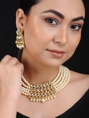 Pearl Kundan Beaded Gold Tone Brass Necklace with Earrings (Set of 2)