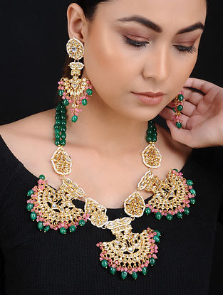 Green Pink Kundan Gold Tone Brass Necklace with Earrings (Set of 2)