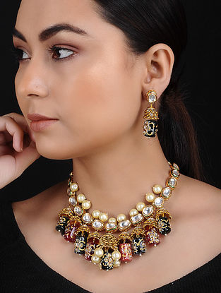 Multicolored Kundan Gold Tone Brass Necklace with Earrings (Set of 2)