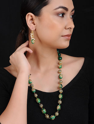Green Gold Tone Beaded Brass Necklace with Earrings (Set of 2)