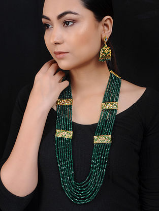 Green Onyx Gold Tone Brass Necklace with Earrings (Set of 2)