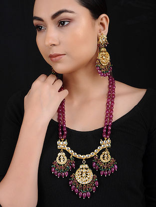 Maroon Green Kundan Gold Tone Brass Necklace with Earrings (Set of 2)