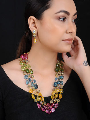 Multicolored Flourite Gold Tone Brass Necklace with Earrings (Set of 2)