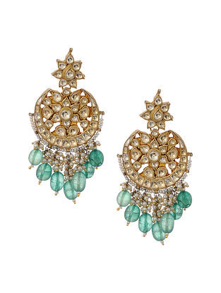 Green Kundan Gold Tone Brass Earrings