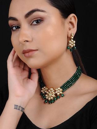 Green Onyx Kundan Gold Tone Brass Necklace with Earrings (Set of 2)