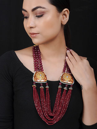 Red Yellow Gold Tone Kundan Brass Necklace