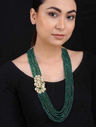 Green Onyx Kundan Gold Tone Brass Necklace