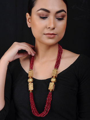 Red Onyx Gold Tone Beaded Brass Necklace