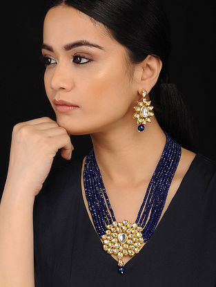 Blue Gold Tone Kundan Necklace with Earrings (Set of 2)